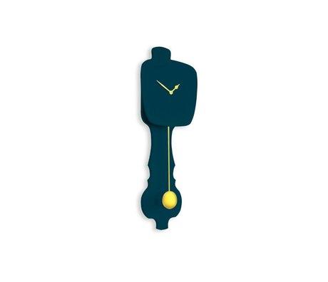 KLOQ Pequeño reloj azul petróleo, oro madera 59x20,4x6cm