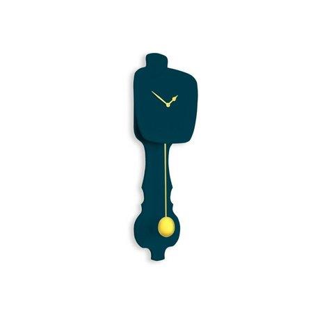 KLOQ Orologio piccolo blu petrolio, legno d'oro 59x20,4x6cm