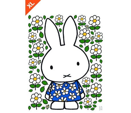 Kek Amsterdam Etiqueta de la pared Miffy vestido de flores multicolor de vinilo XL 94x120cm