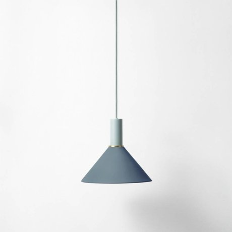 Ferm Living Cone Hängelampe low dark blue light gray metal