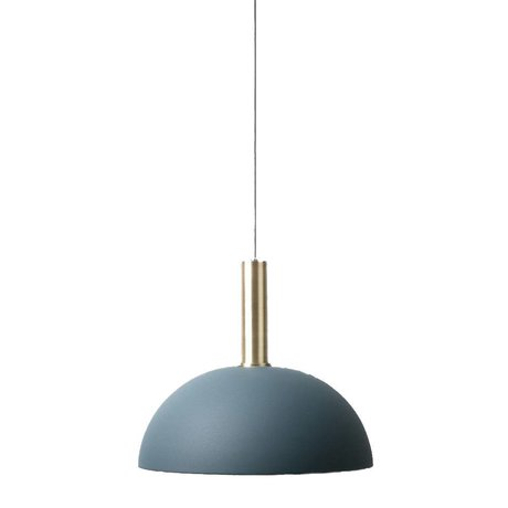 Ferm Living Hanging light dome high dark blue brass gold metal