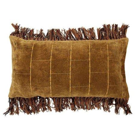 HK-living Stonewashed velvet cushion ocher 35x70cm