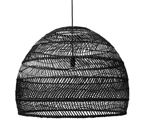 HK-living Lámpara colgante negro tejido a mano 80x80x60cm reed