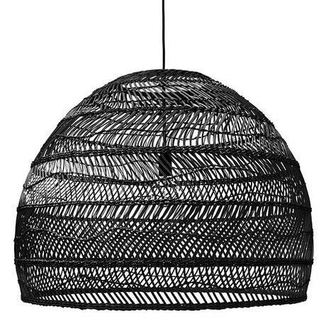 HK-living Lampada a sospensione nera tessuti a mano canna 80x80x60cm