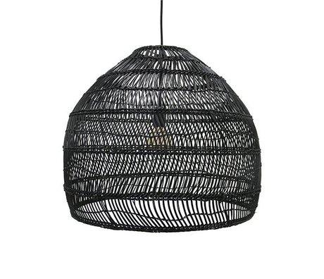 HK-living Hängeleuchte schwarz handgewebte Reed 60x60x50cm