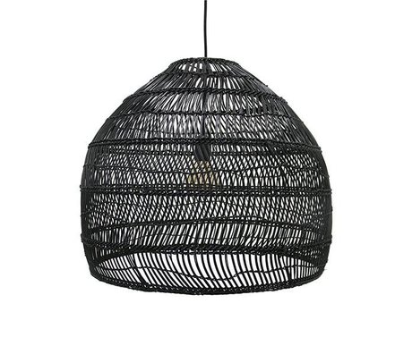 HK-living Hanging light black hand-woven reed 60x60x50cm