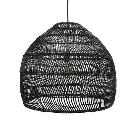 HK-living Lampada a sospensione nera tessuti a mano canna 60x60x50cm