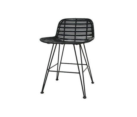 HK-living Mini bar stool black rattan 50x42x65cm