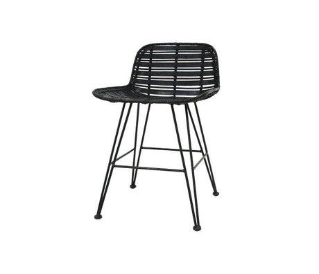 HK-living Mini taburete de ratán negro 50x42x65cm