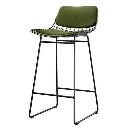 HK-living Cushion Set Comfort Kit velvet green of metal wire stool