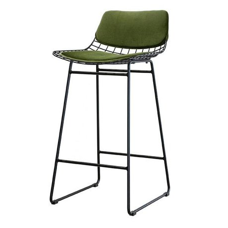 HK-living Set oreiller tabouret fil métallique vert velours Kit Comfort