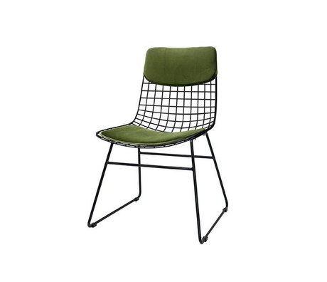 HK-living Cushion set Comfort Kit velvet green of metal wire chair