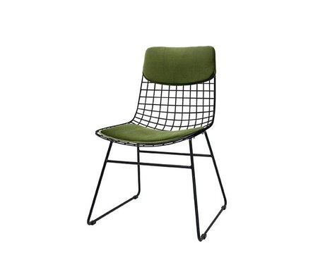 HK-living Set di cuscini Comfort Kit per sedia in filo di metallo verde velluto