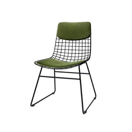 HK-living Ensemble de coussin Comfort Kit pour chaise en fil de métal vert velours