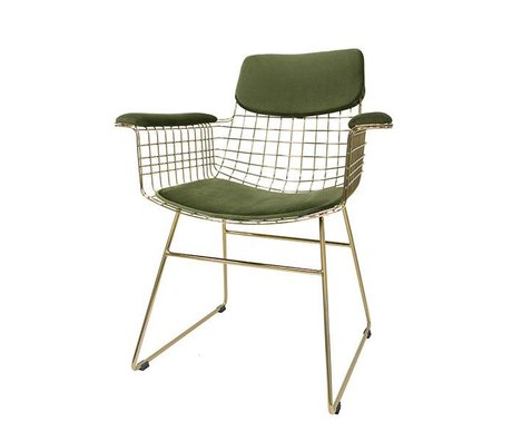 HK-living silla de alambre de metal verde Kit Juego de almohadas Comfort terciopelo con apoyabrazos