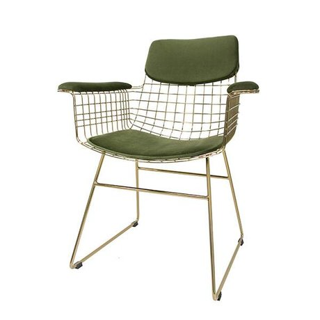 HK-living Juego de almohadas Comfort Kit terciopelo verde para alambre de metal de silla con reposabrazos