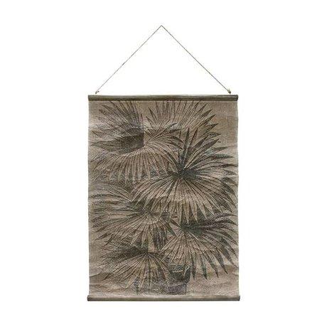 HK-living Schule Platte Palmblätter Vintage-60x83cm