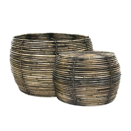 HK-living Brown rattan basket set of 2