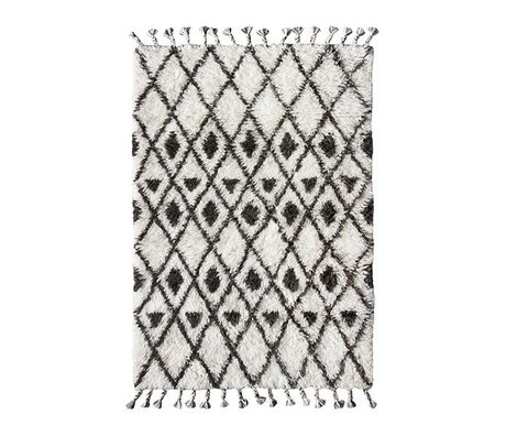 HK-living laine nouée à la main tapis berbère 120x180cm noir et blanc