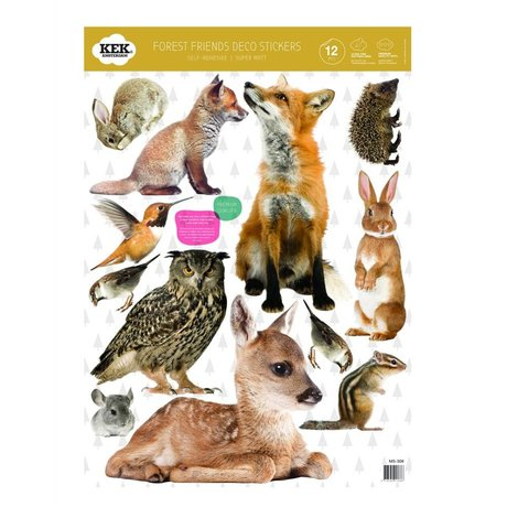 Kek Amsterdam Adesivi per pareti Set Forest Friends multicolore vinile 42x59cm