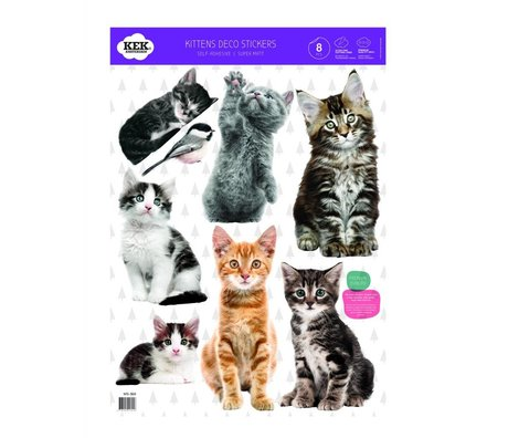 Kek Amsterdam Wall Sticker Set chaton 42x59cm vinyle multi-couleurs