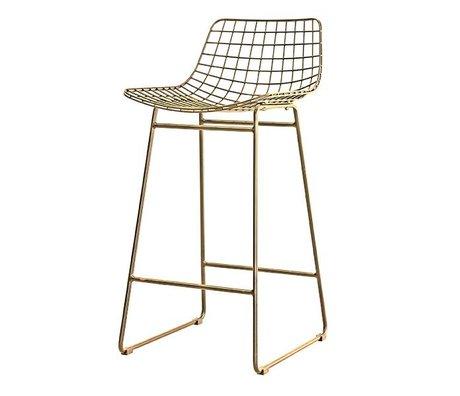 HK-living Bar stool brass wire brass wire steel 47x47x89cm