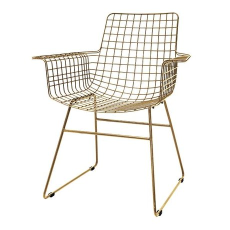 HK-living Wire chair with armrests brass wire steel 72x56x86cm