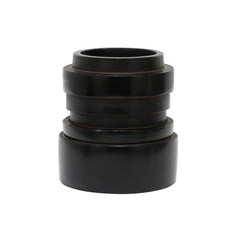 HK-living Vase S Chulucanas black ceramic 14x14x15cm