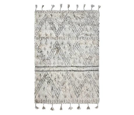 HK-living Berber carpet hand-weaved wool gray white 180x280cm