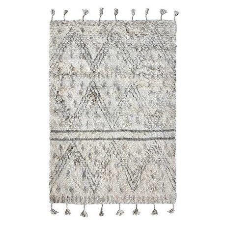 HK-living alfombra Berber gris de lana tejida a mano 180x280cm blanco