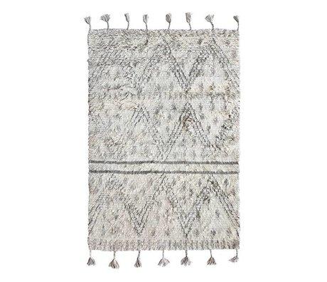 HK-living alfombra Berber gris de lana tejida a mano 120X180cm blanco