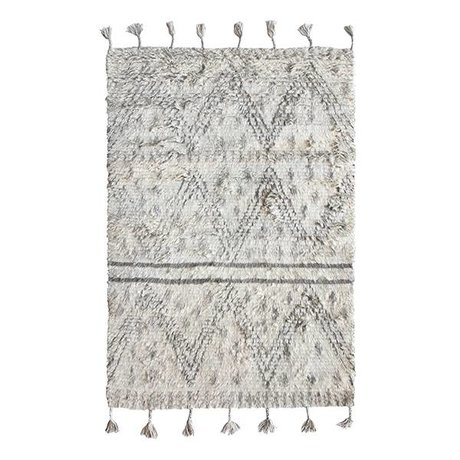HK-living Berber tappeto tessuto a mano lana grigia 120x180cm bianco