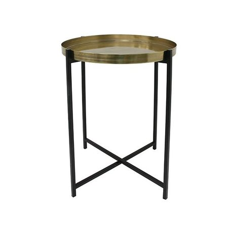 HK-living Side table M brass brass black 40x40x55cm