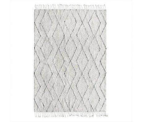 HK-living coton blanc tissé à la main tapis berbère gris 140x200