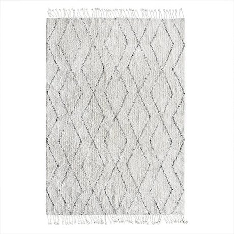 HK-living Berber carpet hand-weaved white cotton gray 140x200cm