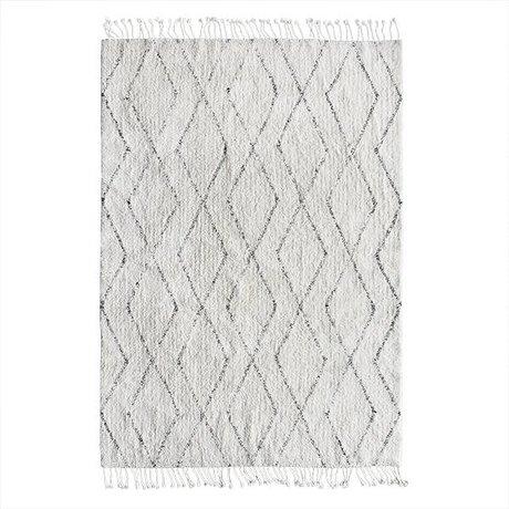 HK-living Berber tæppe håndvævede hvid bomuld 140x200cm grå