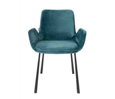 Zuiver Dining Chair Brit Petrol Blue Polyester 59x62x79cm