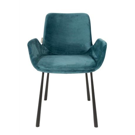 Zuiver silla de comedor Brit gasolina 59x62x79cm poliéster azul