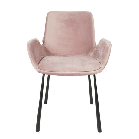 Zuiver chaise à manger Brit rosa polyester 59x62x79cm