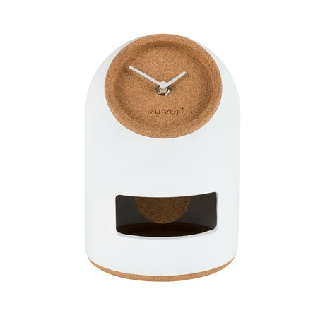 Zuiver Table clock Uno white concrete cork Ø17x24,5cm