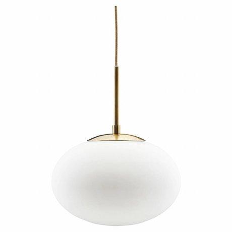 Housedoctor Lampe à suspension en verre opale blanc métal 30x35cm
