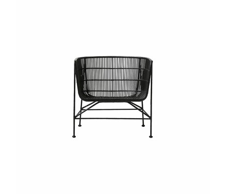 Housedoctor Coon schwarz Rattan Stuhl 60.5x70x70cm