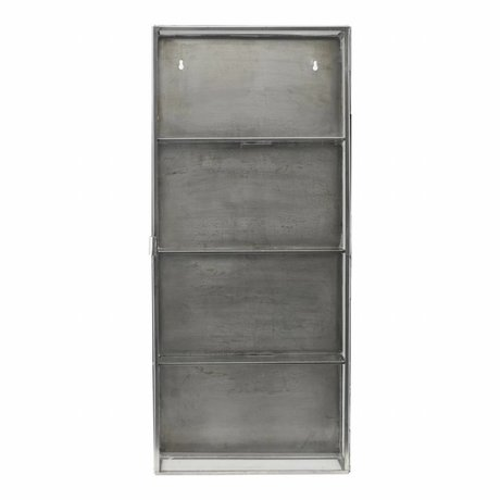 Housedoctor Armario zinc gris metálico 35x15x80cm cristal