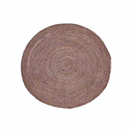 Housedoctor Tæppe Struktur Henna pink rød hamp ∅ 100cm