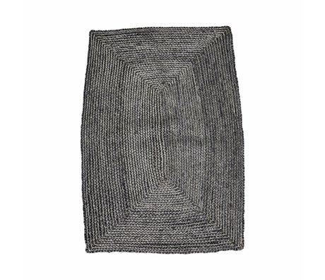 Housedoctor Estructura de la alfombra negro gris de cáñamo 85x130cm
