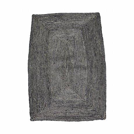 Housedoctor Structure Tapis noir 85x130cm chanvre gris