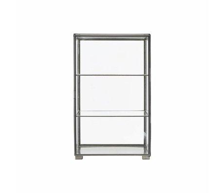 Housedoctor Gabinete de hierro fundido zinc 35x35x56.6cm cristal