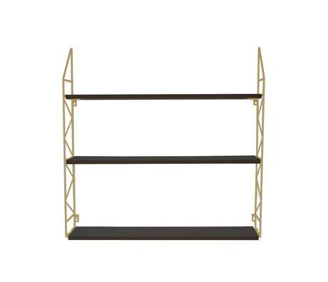 pt, Wandrek bois en métal or zigzag 60x60x11cm