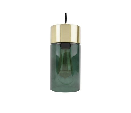 Leitmotiv Lax gold pendant light green glass Ø12cmx24,5cm