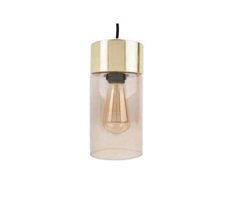 Leitmotiv Lax gold pendant light gray glass Ø12cmx24,5cm
